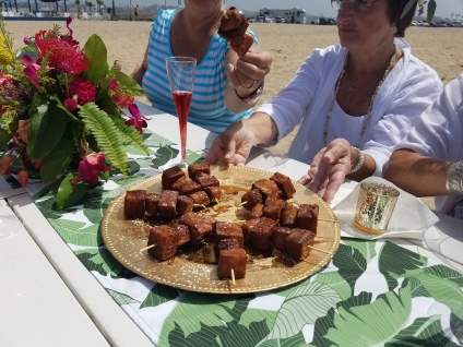 Skewers of sausage and French toast
