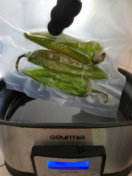 Hatch Green Chiles in Sous Vide Cooker