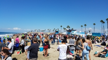 Large crowd attending Surf City Surf Dog competition.