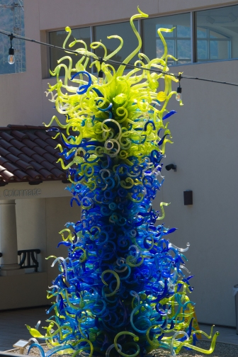 Giant Chihuly glass sculpture on the museum patio